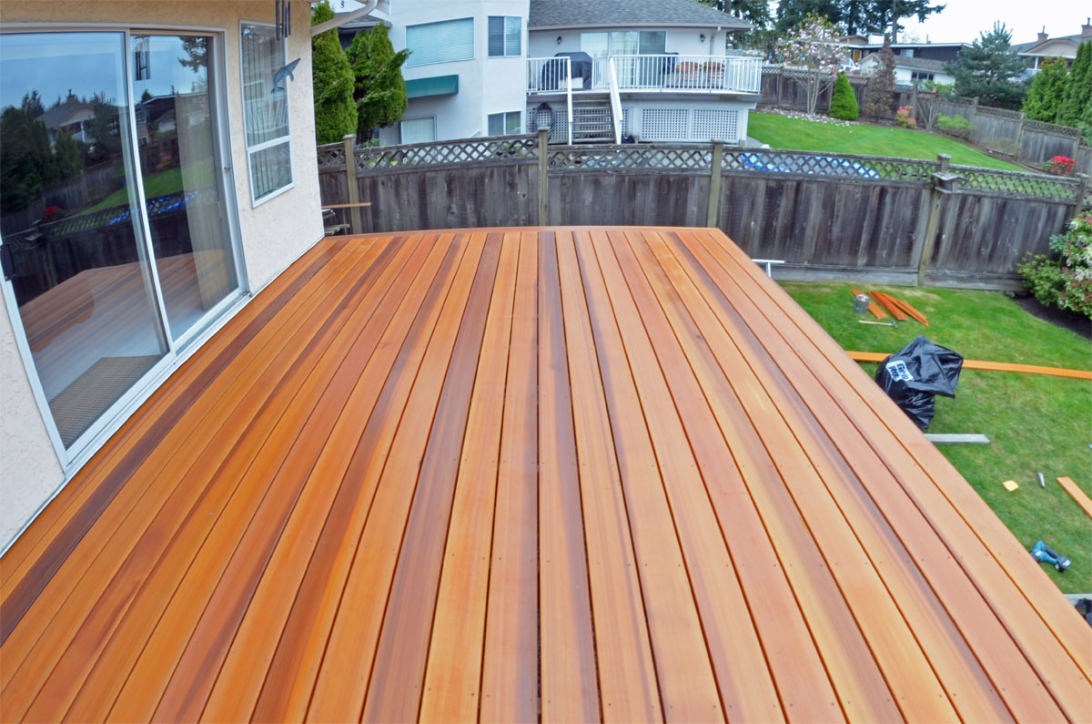 Cedar decking wood decks coquitlam for Best timber for decking