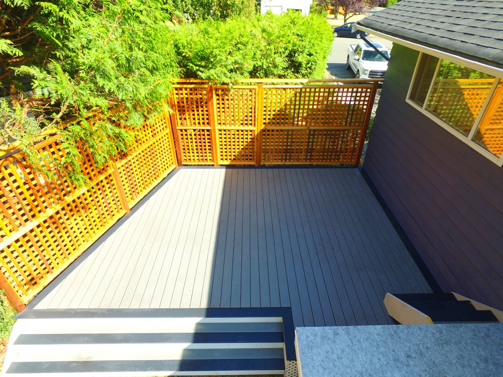 Lower level with trex deck and privacy wall