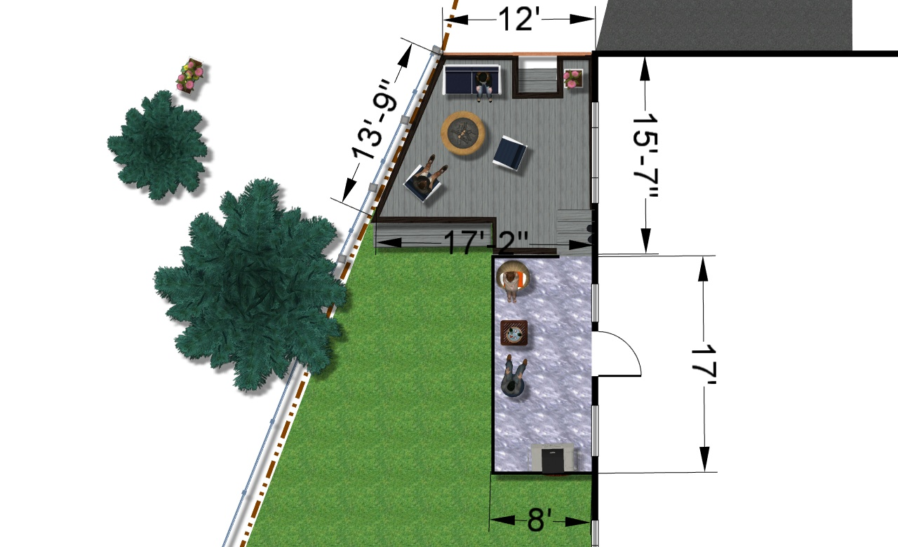 a digital image of back yard plan and measurements