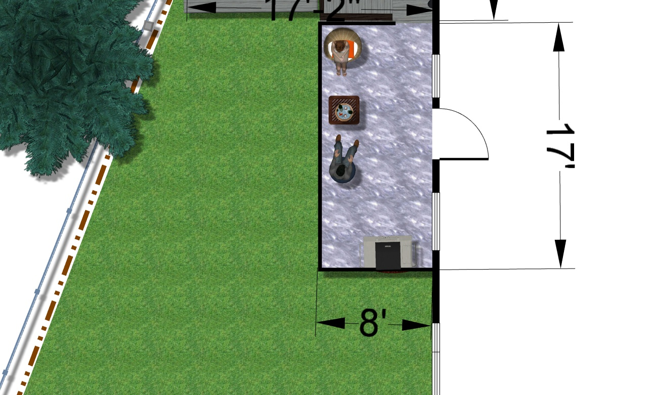 A digital image of back yard plan