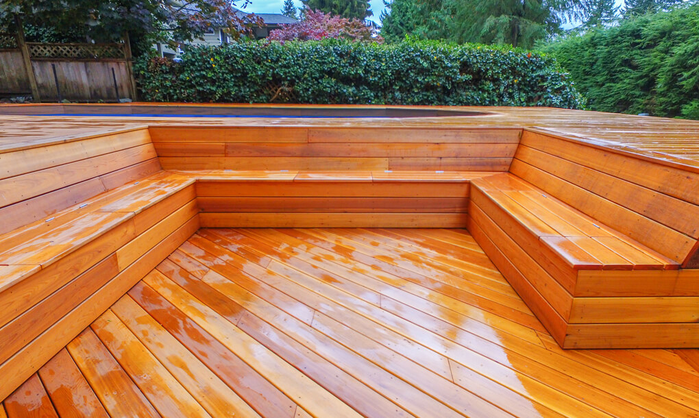 Seated area built into deck