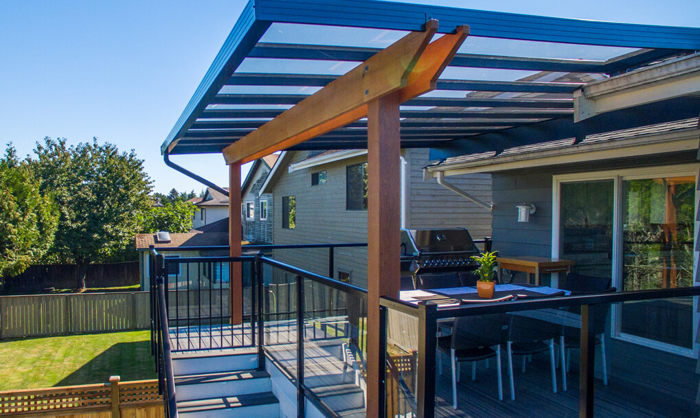 side view of glass canopy and composite deck
