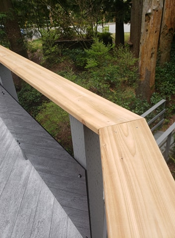 Glass Cedar Railing Vinyl Decking